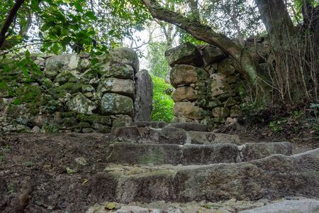 Stone stairs covered moss in Medieval cloister of the Convento dos Capuchos or Capuchin monastery in Sintra, Portugal