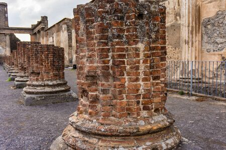 Ruins of Ancient Pompeii, Roman town destroyed by Vesuvius volcano, Italy