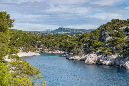 Beautiful nature of Calanques on the azure coast of France. Coast En Vau near in South France.