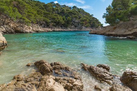 French fjords, Calanques national park, Calanque dEn Vau bay, Cassis, azure coast of Provence, Southern France, Europe