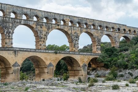 Pont du Gard is a part of Roman aqueduct in southern France near Nimes. Standard-Bild