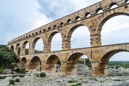 Pont du Gard is the tallest aqueduct and bridge built in Europe by the Romans, Provence, France