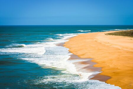 Aerial view of Portugal beach at Nazere in summer time.