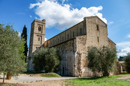 Medieval church of the Abbey of Sant Antimo in the region of Tuscany, Italy