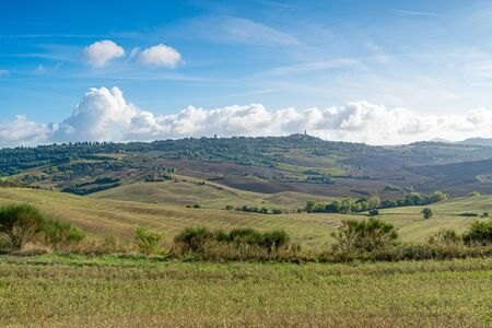 Tuscany landscape at sunrise. Typical for the region tuscan hills. Italy