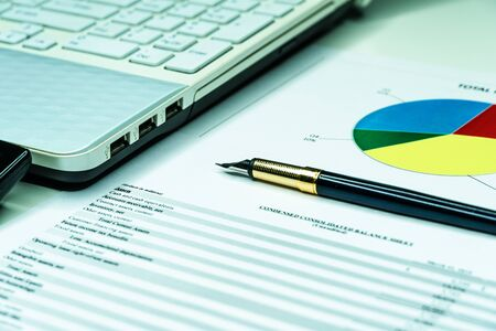 Analyzing finance report with calculator and pen. Financial business planning, Balance the investment portfolio. Archivio Fotografico