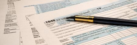 Tax forms 1040. U.S Individual Income Tax Return. wide banner Stockfoto