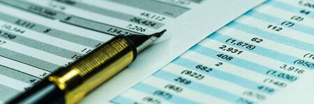 Balance sheet in stockholder report book, balance sheet is mock-up. wide banner Archivio Fotografico