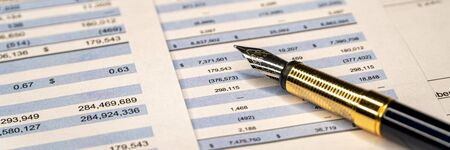 Checking balance - preparation of a balance sheet. Financial business planning, Balance the investment portfolio. Wide banner
