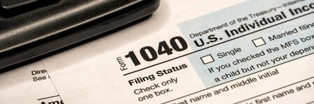 Tax forms 1040. U.S Individual Income Tax Return. Tax time. Wide banner