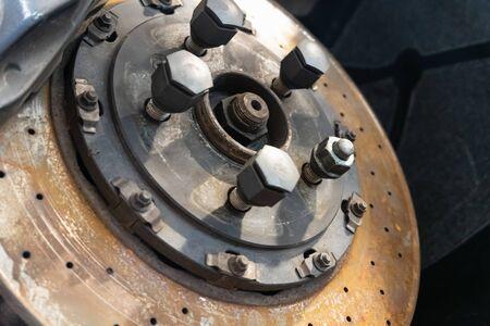 Front Disk brake assembly on a car - Brake repair job in progress
