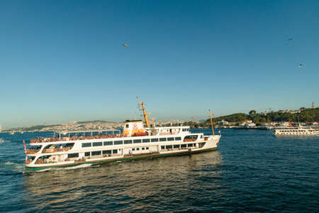 The passenger ferry ship is on the Bosphorus in Istanbul, Turkey
