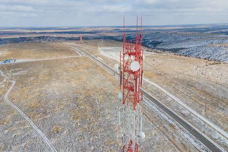 Telecommunication tower of 4G and 5G cellular. Base Station or Base Transceiver Station telecom. Wireless Communication Antenna Transmitter. Stock fotó