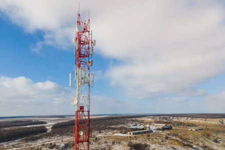 Tower communication in a rural location. Telecom tower antenna and satellite transmits the signals of cellular 5g 4g mobile signals