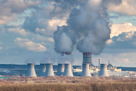 Nuclear power plant with Cooling tower of Atomic power station
