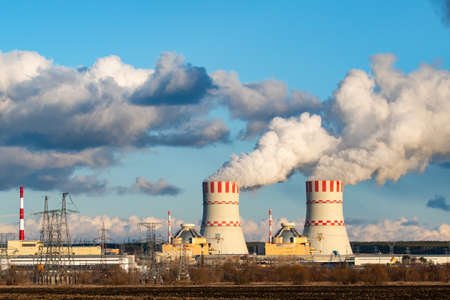Nuclear power plant with Cooling towers of Atomic energy power station
