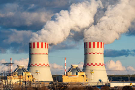 Cooling towers of Nuclear power plant emissions of steam in the air atmosphere
