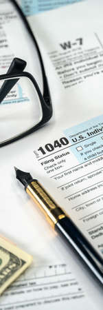 Filling US tax form 1040. Tax time for USA business income return tax and irs
