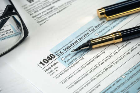 1040 Tax Form. Tax Payment Concept. Individual Income Tax Return Reklamní fotografie