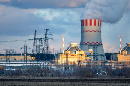 Nuclear power plant with cooling tower emission of steam in the air atmosphere