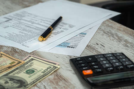 Tax form USA business income office concept. Tax Return Form 1040