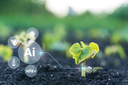 AI industrial agriculture, farming technology in the futuristic icon. Smart farm technology for detection and control system of Plant sprout growing design infographics