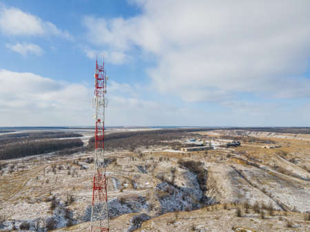 Telecommunication tower of 4G and 5G. Base Station or Transceiver Station telecom. Wireless Antenna connection system of communication