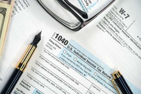 Blank tax Form 1040 US Individual Income Tax Return. Tax Payment tax Concept. Reklamní fotografie