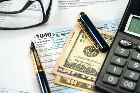 Form 1040 US Individual tax Income, Tax time for USA business income return tax and irs.