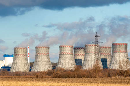 Cooling towers of Nuclear power plant emissions of steam in the air atmosphere.