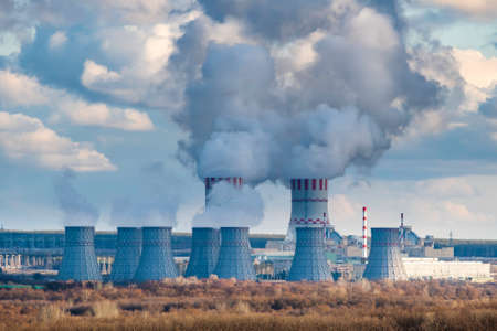 Nuclear power plant with Cooling tower with steam of Atomic power station