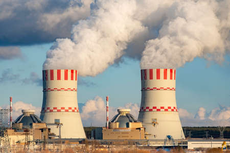 Nuclear power plant, Cooling tower of Atomic nuclear power station. Industrial zone with nuclear plant with emission of steam in the air atmosphere.