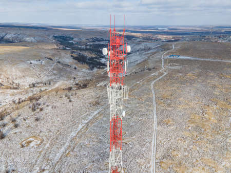 Telecommunication cell tower 5G. Base Transceiver Station telecom, Wireless Communication Antenna Transmitter.