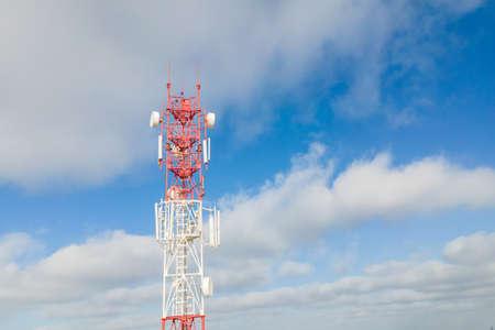 Telecommunication tower 5G, Wireless Antenna connection system of communication systems in countryside. Stock fotó