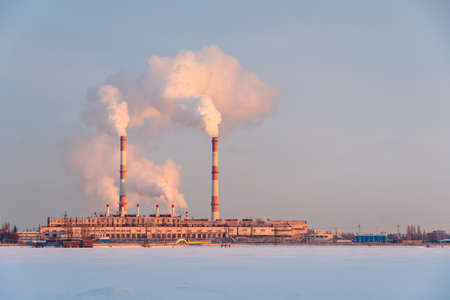 Emission smoke from factory pipes in Industrial zone