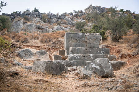 Ruins of ancient tombs in Xanthos town, Turkey. Old roman civilization. Antique town on lycian way