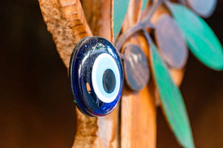 Turkish evil eye, traditional magic protection amulet. Selective focus