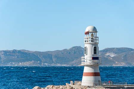 Lighthouse in fishing port Kas town, Turkey. Stock fotó