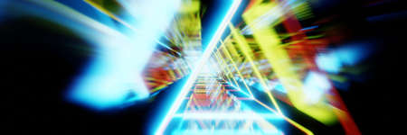 Abstract Acceleration Speed Motion through light tunnel. Technology background, 3d render. Wide banner