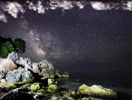 Long exposure of the Milky Way and the dark nebula  photo