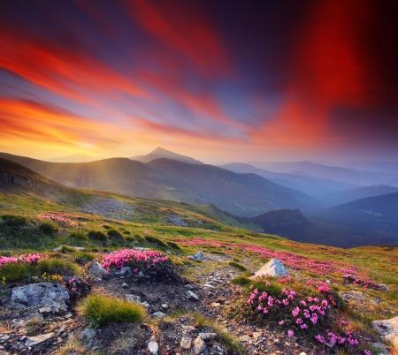 paisaje rural: Paisaje con montañas bajo el cielo de la mañana con nubes Foto de archivo
