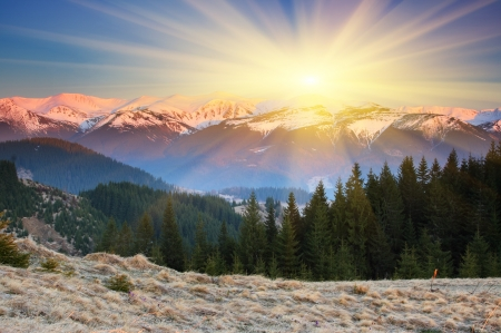 Majestic sunset in the mountains landscape. HDR image photo