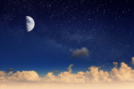 Magic moon in the night sky. Mystic sky. Stock Photo