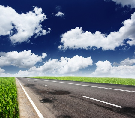 Empty road with cloudy sky and sunlight Stock Photo - 12665713