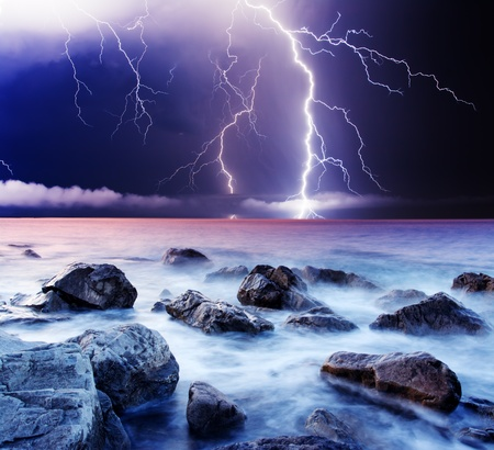 storm sea: summer storm beginning with lightning Stock Photo