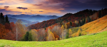 Majestic sunrise in the mountains landscape  HDR image