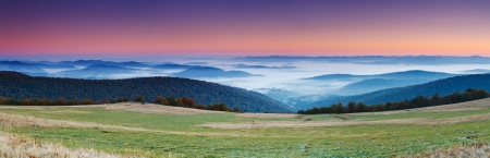 Majestic sunrise in the mountains landscape. HDR image photo