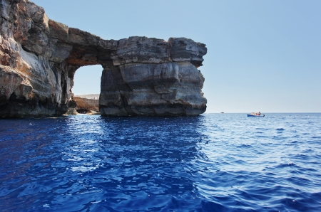 azure coast: Fantastic Azure Window, famous stone arch on Gozo island, Dwejra. Malta Stock Photo
