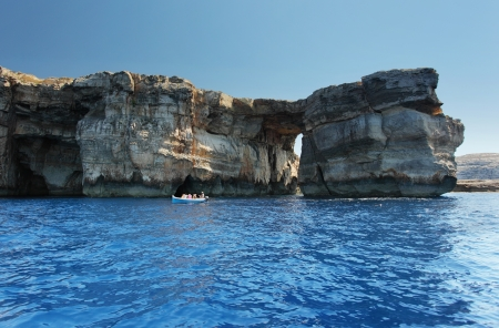 Fantastic Azure Window, famous stone arch on Gozo island, Dwejra. Malta photo