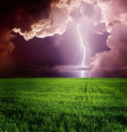 Thunderstorm with lightning in green meadow. photo
